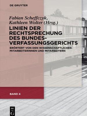 cover image of Linien der Rechtsprechung des Bundesverfassungsgerichts