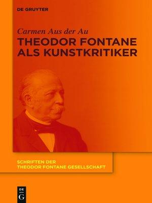 cover image of Theodor Fontane als Kunstkritiker