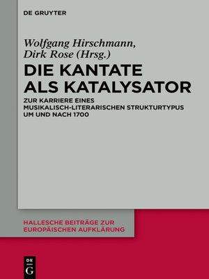cover image of Die Kantate als Katalysator