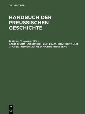 cover image of Vom Kaiserreich zum 20. Jahrhundert und Große Themen der Geschichte Preußens