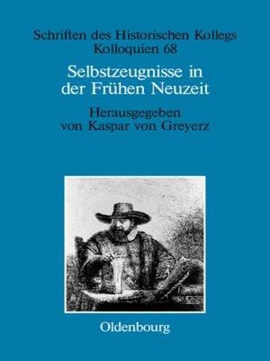 cover image of Selbstzeugnisse in der Frühen Neuzeit