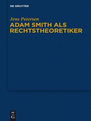 cover image of Adam Smith als Rechtstheoretiker