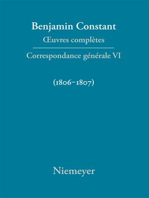 cover image of Correspondance générale 1806–1807