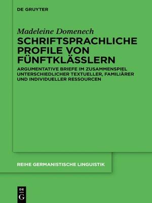 cover image of Schriftsprachliche Profile von Fünftklässlern