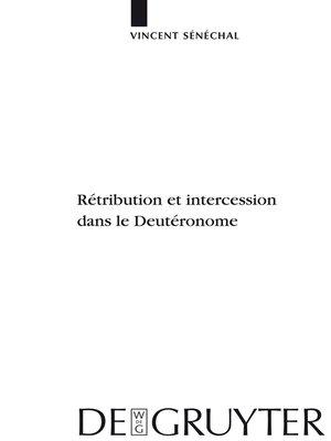 cover image of Rétribution et intercession dans le Deutéronome