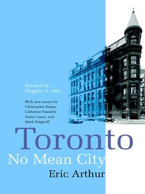 cover image of Toronto, No Mean City