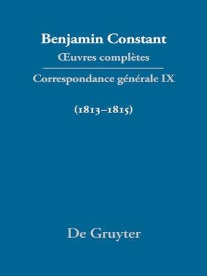 cover image of Correspondance générale 1813–1815
