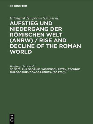 cover image of Philosophie, Wissenschaften, Technik. Philosophie (Doxographica [Forts.])