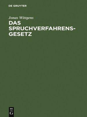 cover image of Das Spruchverfahrensgesetz