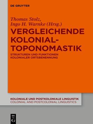 cover image of Vergleichende Kolonialtoponomastik
