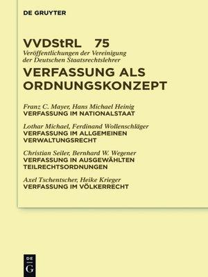 cover image of Verfassung als Ordnungskonzept