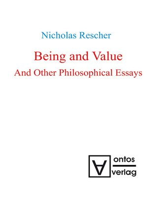 cover image of Being and Value and Other Philosophical Essays