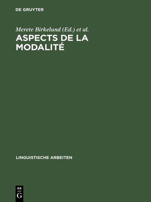 cover image of Aspects de la Modalité