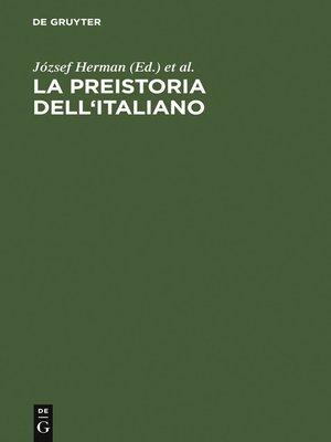 cover image of La preistoria dell'italiano