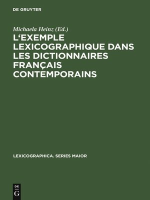 cover image of L'exemple lexicographique dans les dictionnaires français contemporains