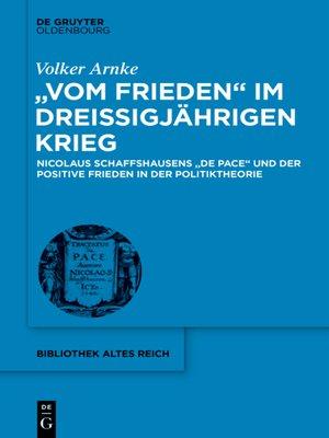 """cover image of """"Vom Frieden"""" im Dreißigjährigen Krieg"""