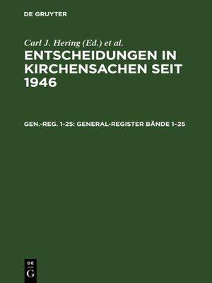 cover image of General-Register Bände 1–25