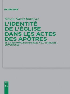 cover image of L'identité de l'Église dans les Actes des apôtres