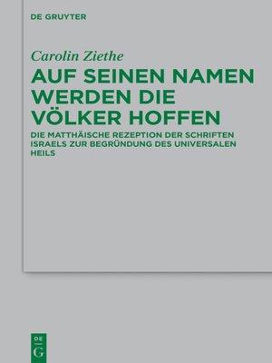 cover image of Auf seinen Namen werden die Völker hoffen