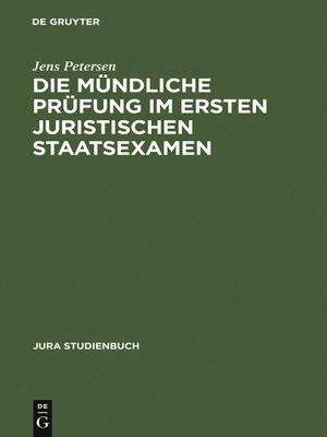 cover image of Die mündliche Prüfung im ersten juristischen Staatsexamen