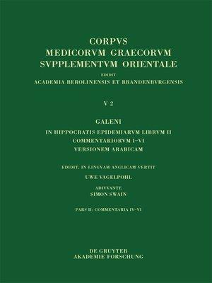cover image of Galeni in Hippocratis Epidemiarum librum II commentariorum IV-VI versio Arabica et indices
