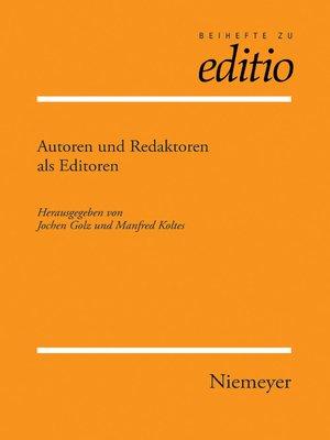 cover image of Autoren und Redaktoren als Editoren