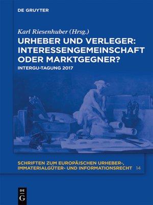 cover image of Urheber und Verleger