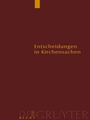 cover image of Entscheidungen in Kirchensachen