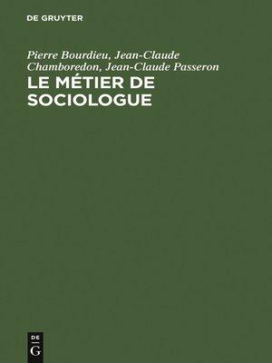 cover image of Le métier de sociologue