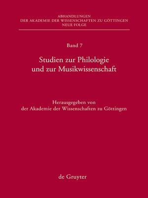 cover image of Studien zur Philologie und zur Musikwissenschaft