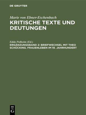 cover image of Briefwechsel mit Theo Schücking. Frauenleben im 19. Jahrhundert