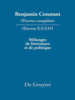 cover image of Mélanges de littérature et de politique