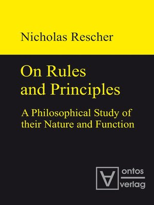 cover image of On Rules and Principles