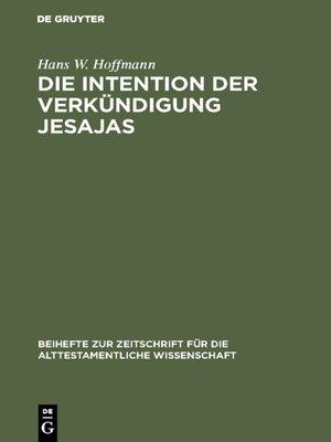 cover image of Die Intention der Verkündigung Jesajas