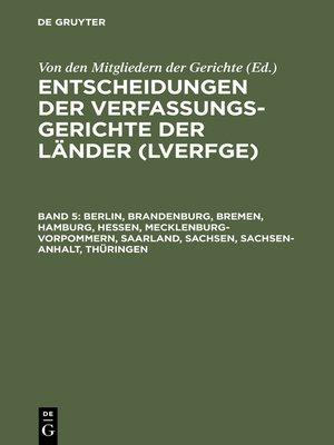 cover image of Berlin, Brandenburg, Bremen, Hamburg, Hessen, Mecklenburg-Vorpommern, Saarland, Sachsen, Sachsen-Anhalt, Thüringen