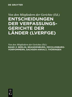 cover image of Berlin, Brandenburg, Mecklenburg-Vorpommern, Sachsen-Anhalt, Thüringen