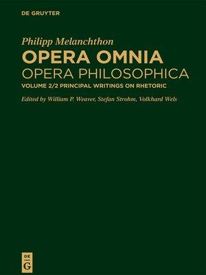 cover image of Principal Writings on Rhetoric