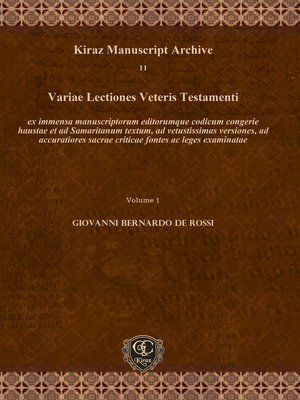 cover image of Variae Lectiones Veteris Testamenti