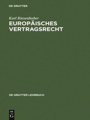 cover image of Europäisches Vertragsrecht