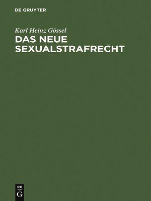 cover image of Das neue Sexualstrafrecht
