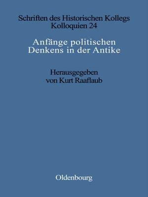 cover image of Anfänge politischen Denkens in der Antike