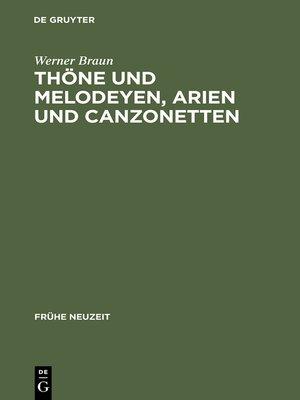 cover image of Thöne und Melodeyen, Arien und Canzonetten