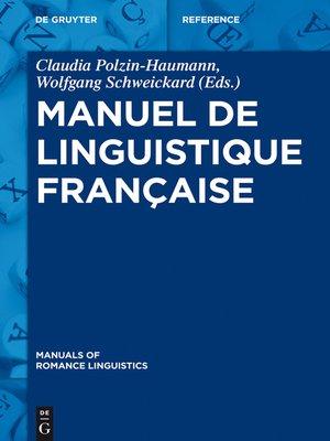 cover image of Manuel de linguistique française