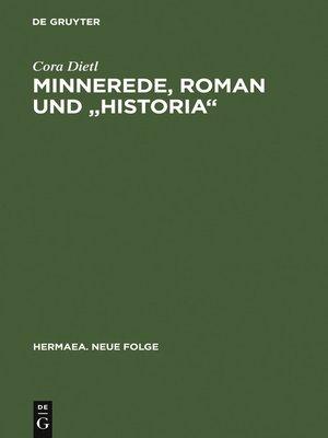 """cover image of Minnerede, Roman und """"historia"""""""