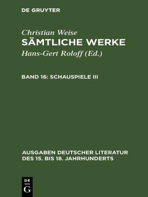 cover image of Schauspiele III