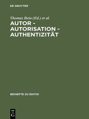 cover image of Autor--Autorisation--Authentizität