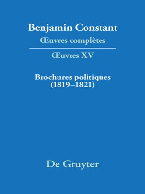 cover image of Brochures politiques (1819–1821)