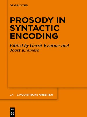 cover image of Prosody in Syntactic Encoding