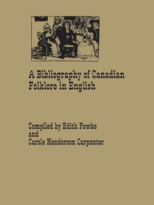 cover image of A Bibliography of Canadian Folklore in English