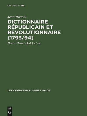 cover image of Dictionnaire Républicain et Révolutionnaire (1793/94)